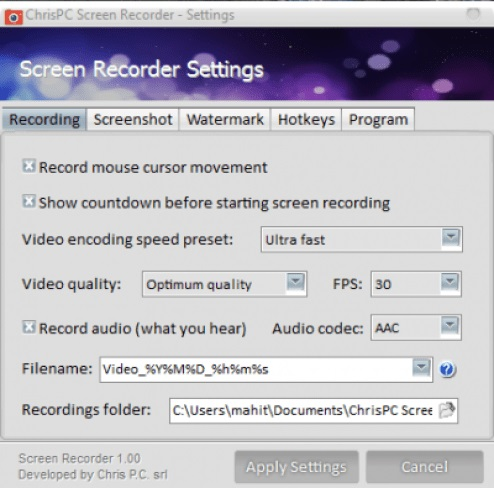 ChrisPC Screen Recorder Pro Download
